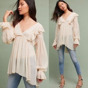 Anthropologie Wynne flowy boho ruffle blouse 0